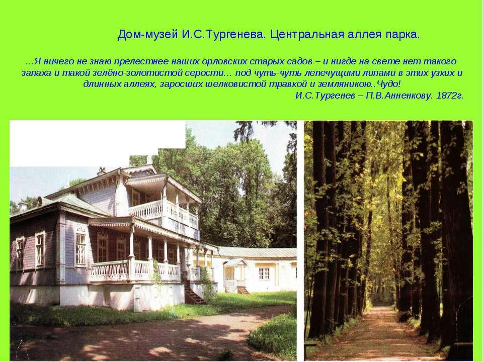 Дом-музей И.С.Тургенева. Центральная аллея парка. …Я ничего не знаю прелестне...
