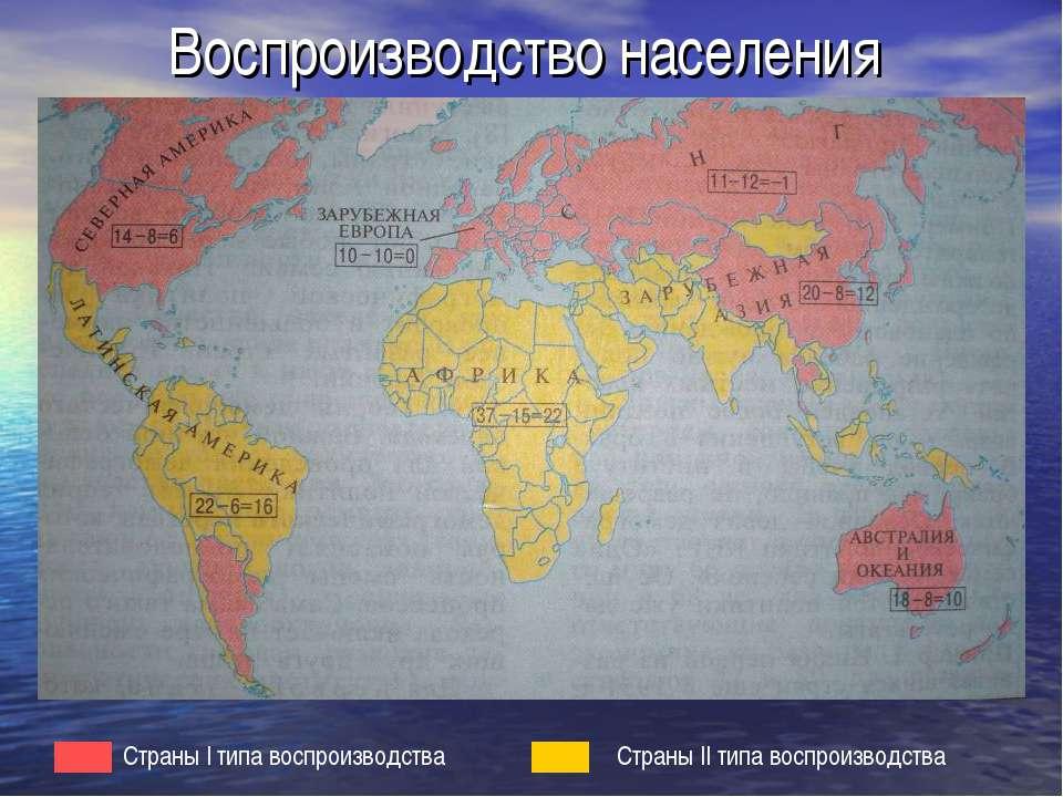 Воспроизводство населения Страны I типа воспроизводства Страны II типа воспро...