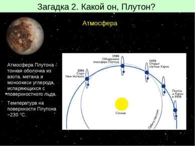 Загадка 2. Какой он, Плутон? Атмосфера Атмосфера Плутона- тонкая оболочка из...