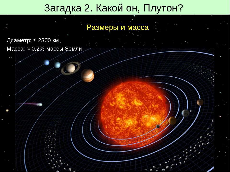 Загадка 2. Какой он, Плутон? Размеры и масса Диаметр: ≈ 2300 км Масса: ≈ 0,2%...