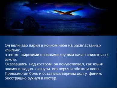 Он величаво парил в ночном небе на распластанных крыльях, а затем широкими пл...
