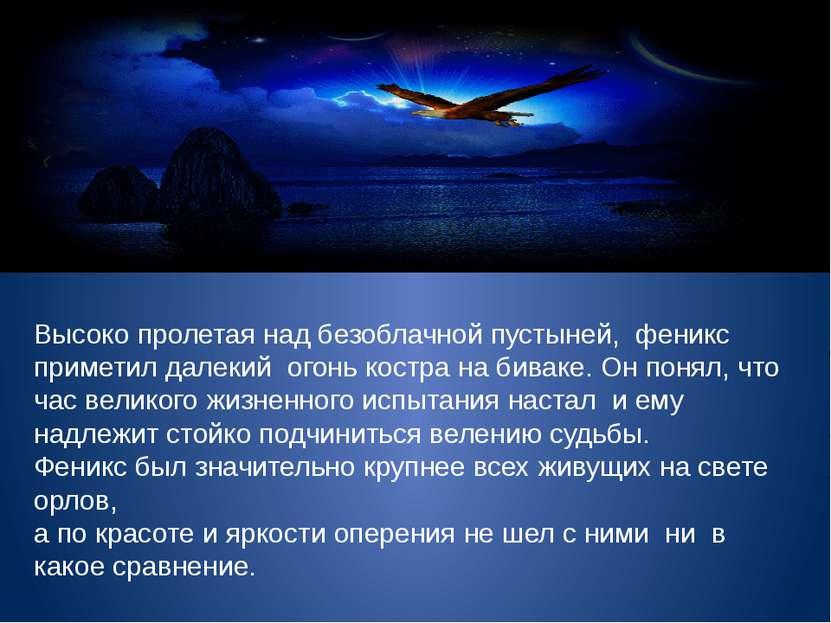 Высоко пролетая над безоблачной пустыней, феникс приметил далекий огонь костр...
