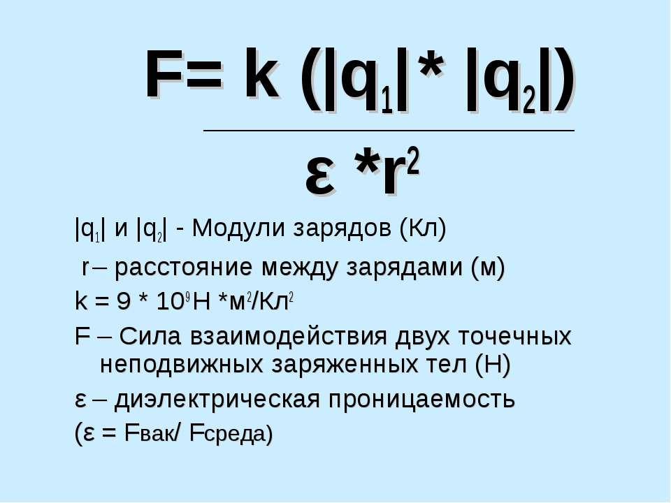 F= k (|q1| * |q2|) ε *r2 |q1| и |q2| - Модули зарядов (Кл) r – расстояние меж...