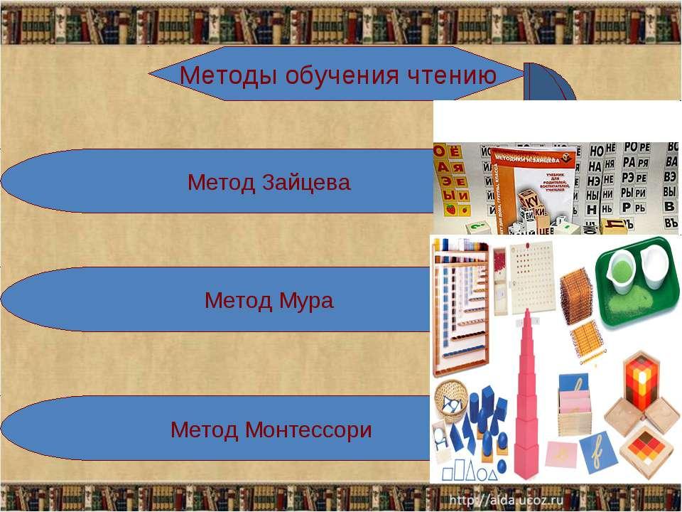Методы обучения чтению Метод Зайцева Метод Монтессори Метод Мура