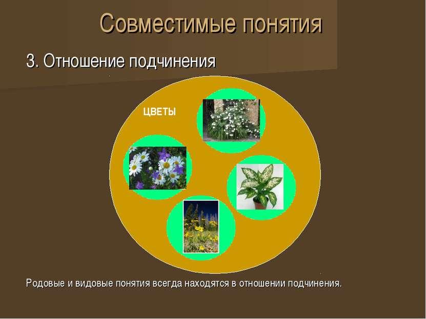 Совместимые понятия 3. Отношение подчинения Родовые и видовые понятия всегда ...