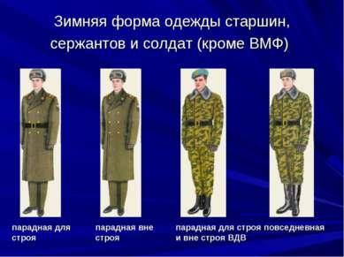 Зимняя форма одежды старшин, сержантов и солдат (кроме ВМФ) парадная для стро...