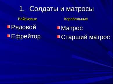 Солдаты и матросы Рядовой Ефрейтор Матрос Старший матрос Войсковые Корабельные