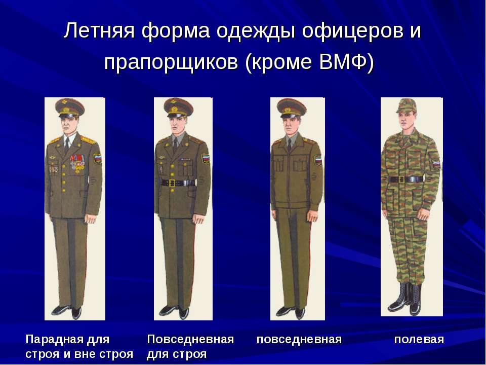 Летняя форма одежды офицеров и прапорщиков (кроме ВМФ) Парадная для строя и в...