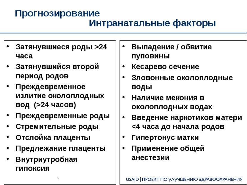 Прогнозирование Интранатальные факторы Затянувшиеся роды >24 часа Затянувшийс...