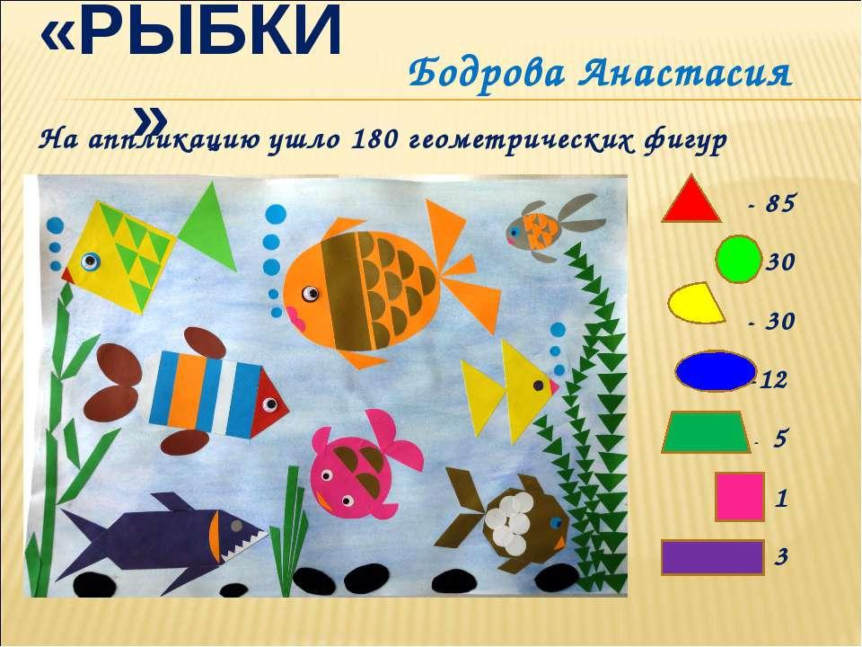 «РЫБКИ» На аппликацию ушло 180 геометрических фигур - 85 - 30 - 30 -12 - 5 - ...