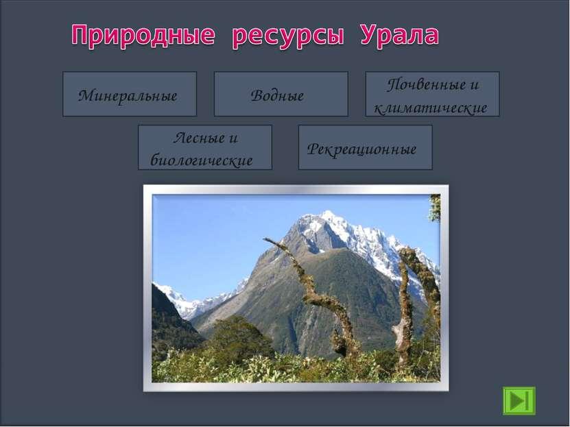 Минеральные Водные Лесные и биологические Почвенные и климатические Рекреацио...