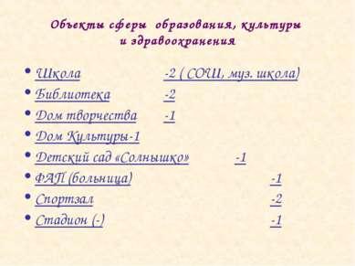 Школа -2 ( СОШ, муз. школа) Библиотека -2 Дом творчества -1 Дом Культуры -1 Д...
