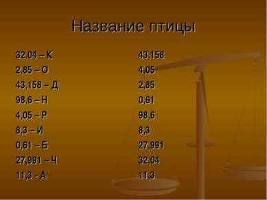 Название птицы 32,04 – К 2,85 – О 43,158 – Д 98,6 – Н 4,05 – Р 8,3 – И 0,61 –...