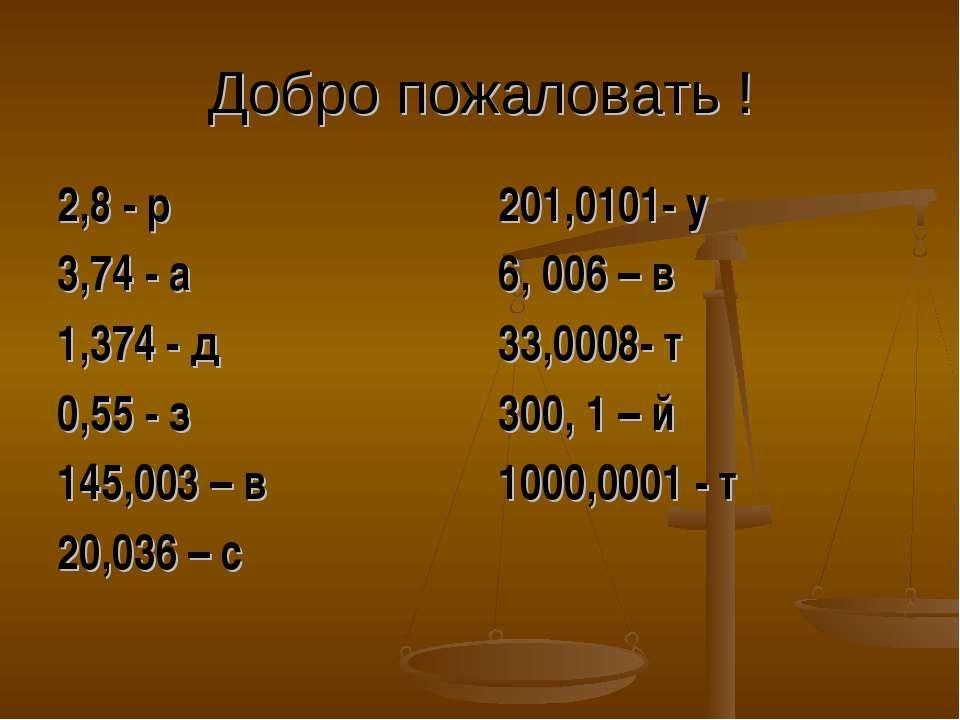 Добро пожаловать ! 2,8 - р 3,74 - а 1,374 - д 0,55 - з 145,003 – в 20,036 – с...