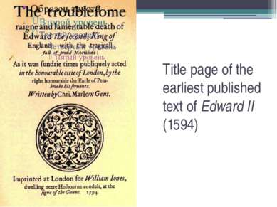 Title page of the earliest published text of Edward II (1594)