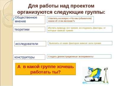 Для работы над проектом организуются следующие группы: Общественное мнение ис...