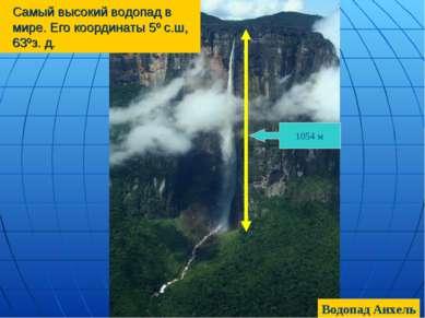 Самый высокий водопад в мире. Его координаты 5º с.ш, 63ºз. д. 1054 м Водопад ...