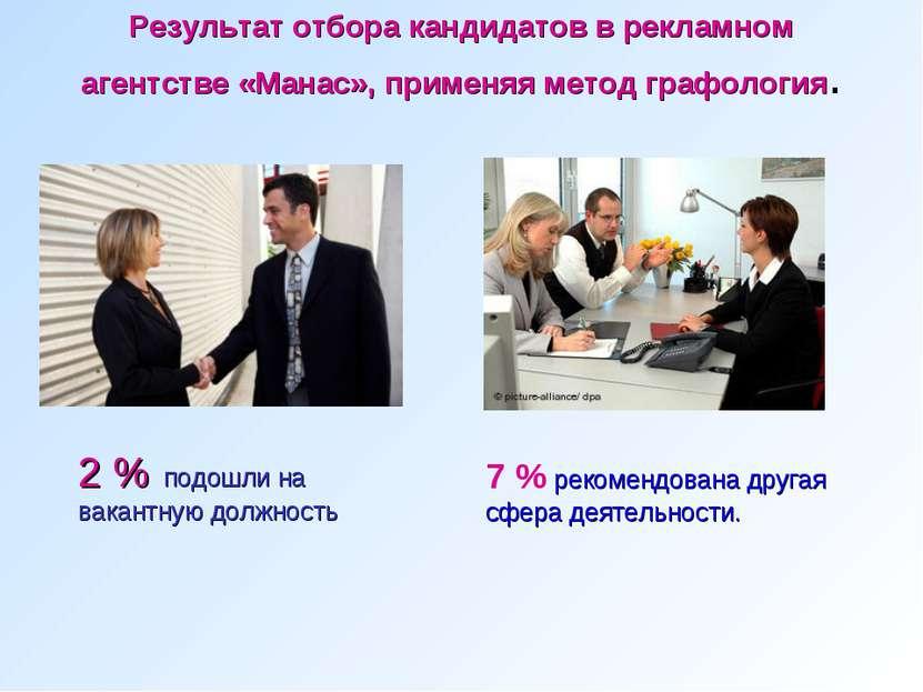 Результат отбора кандидатов в рекламном агентстве «Манас», применяя метод гра...