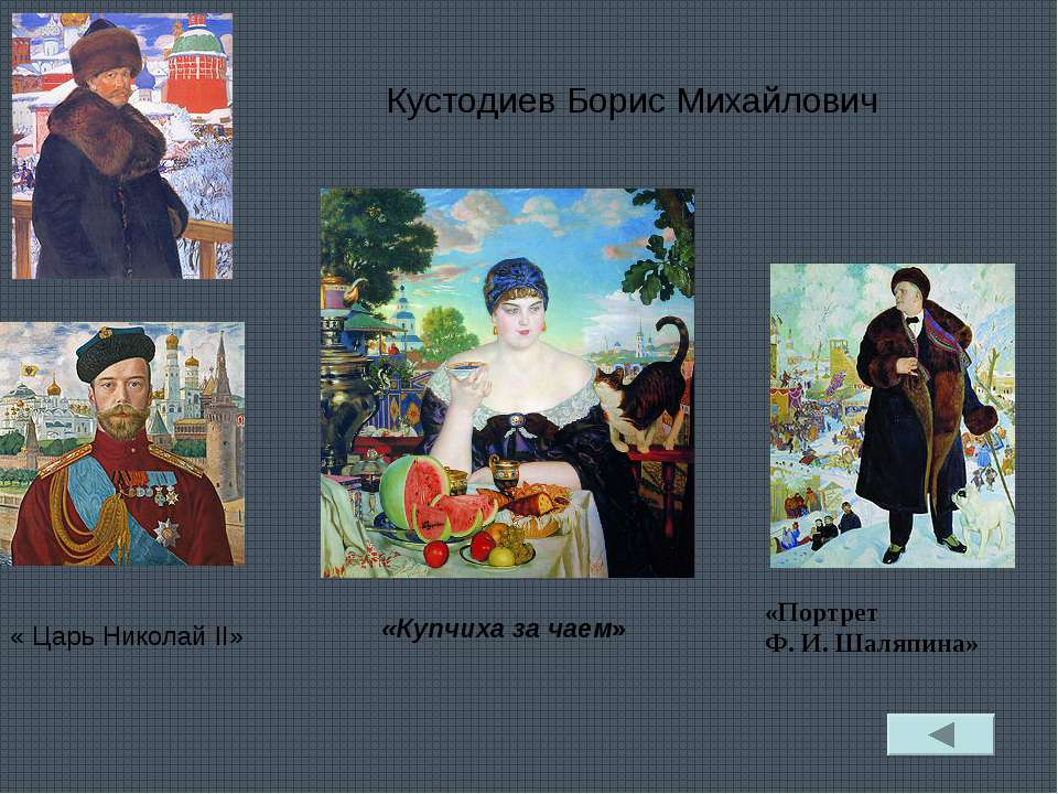 Кустодиев Борис Михайлович «Купчиха за чаем» « Царь Николай II» «Портрет Ф.И...