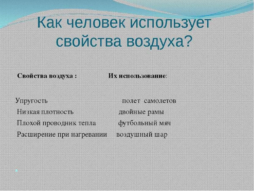 Как человек использует свойства воздуха? Свойства воздуха : Их использование:...
