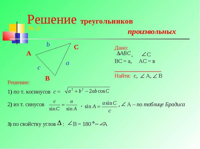 Решение треугольников произвольных A B C № 2 Дано: , С ВС = а, АС = в _______...