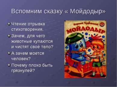 Вспомним сказку « Мойдодыр» Чтение отрывка стихотворения. Зачем, для чего жив...