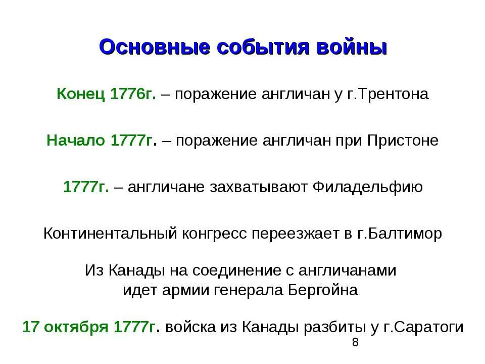 Основные события войны Конец 1776г. – поражение англичан у г.Трентона Начало ...