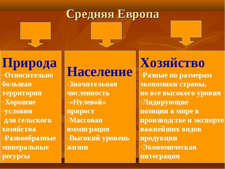 Средняя Европа Природа Относительно большая территория Хорошие условия для се...