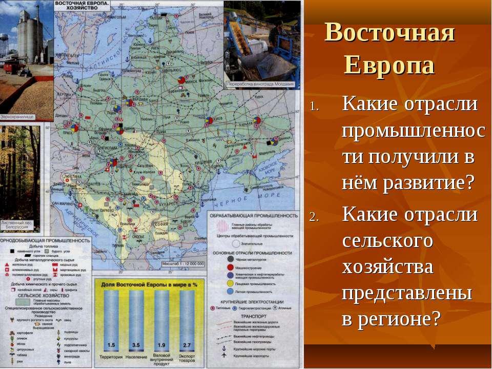 Восточная Европа Какие отрасли промышленности получили в нём развитие? Какие ...