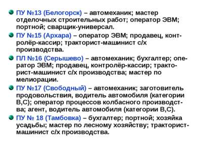 ПУ №13 (Белогорск) – автомеханик; мастер отделочных строительных работ; опера...
