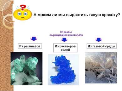 Способы выращивания кристаллов А можем ли мы вырастить такую красоту? Из раст...