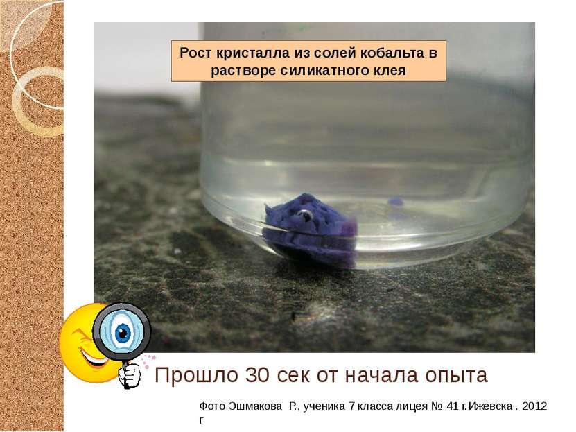 Прошло 30 сек от начала опыта Фото Эшмакова Р., ученика 7 класса лицея № 41 г...