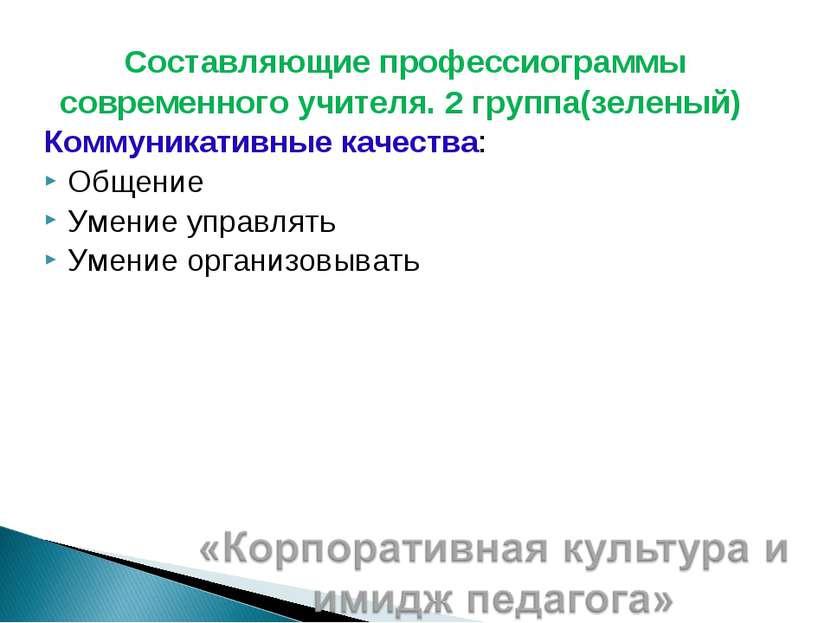 Составляющие профессиограммы современного учителя. 2 группа(зеленый) Коммуник...