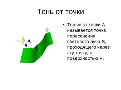 Тень от точки Тенью от точки А называется точка пересечения светового луча S,...