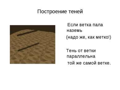 Построение теней Если ветка пала наземь (надо же, как метко!) Тень от ветки п...