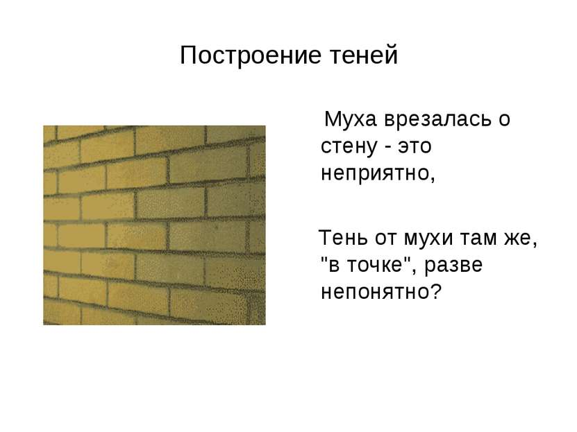 Построение теней Муха врезалась о стену - это неприятно, Тень от мухи там же,...