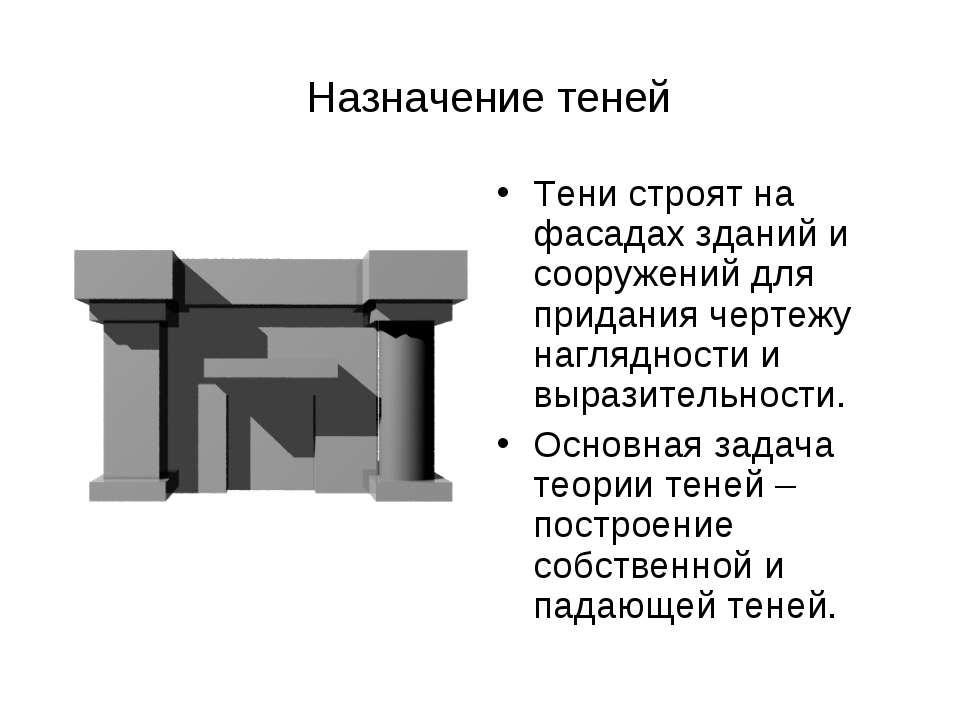 Назначение теней Тени строят на фасадах зданий и сооружений для придания черт...