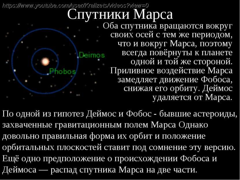 Спутники Марса Оба спутника вращаются вокруг своих осей с тем же периодом, чт...