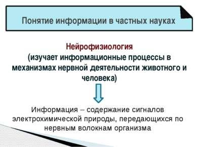 Понятие информации в частных науках Нейрофизиология (изучает информационные п...