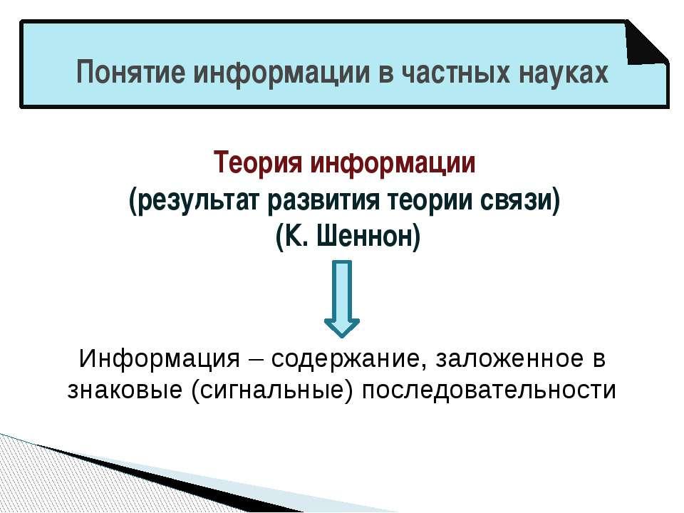Понятие информации в частных науках Теория информации (результат развития тео...