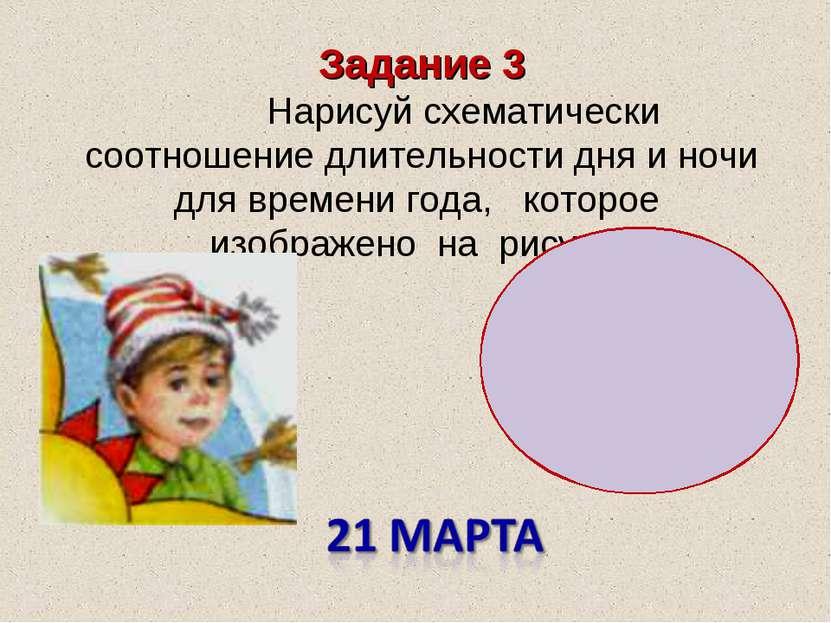 Задание 3 Нарисуй схематически соотношение длительности дня и ночи для времен...
