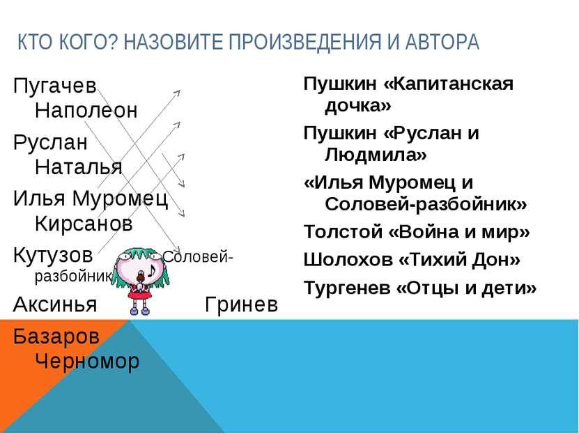 Пугачев Наполеон Руслан Наталья Илья Муромец Кирсанов Кутузов Соловей-разбойн...