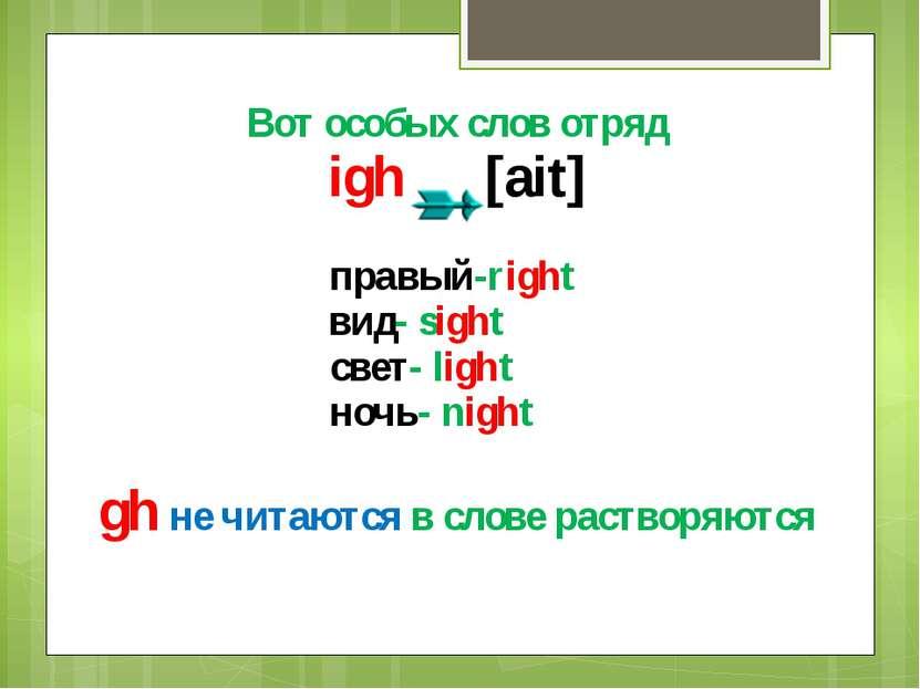 Вот особых слов отряд igh [ait] правый-right вид- sight свет- light ночь- nig...