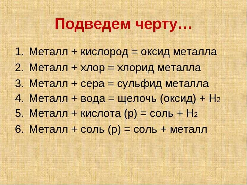 Подведем черту… Металл + кислород = оксид металла Металл + хлор = хлорид мета...