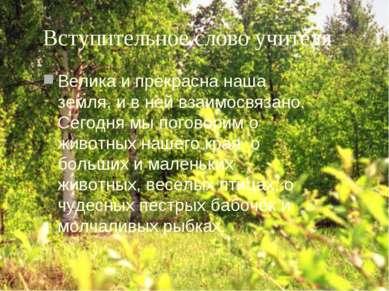 Вступительное слово учителя Велика и прекрасна наша земля, и в ней взаимосвяз...
