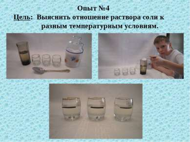 Опыт №4 Цель: Выяснить отношение раствора соли к разным температурным условиям.