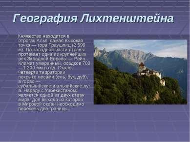 География Лихтенштейна Княжество находится в отрогахАльп, самая высокая точк...