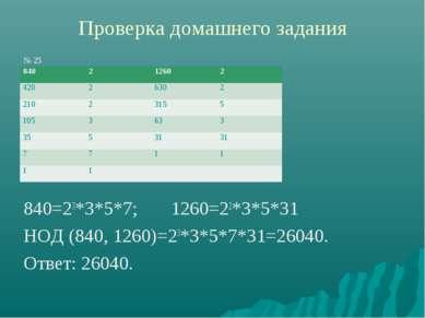 Проверка домашнего задания № 25 840=23*3*5*7; 1260=22*3*5*31 НОД (840, 1260)=...