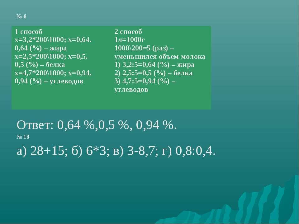 № 8 Ответ: 0,64 %,0,5 %, 0,94 %. № 18 а) 28+15; б) 6*3; в) 3-8,7; г) 0,8:0,4....