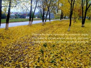 Однажды днем, проходя по осеннему парку, я услышала тихий шорох листьев, грус...